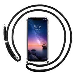 Funda Colgante Transparente para Xiaomi Redmi Note 6 Pro con Cordon Negro