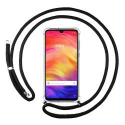 Funda Colgante Transparente para Xiaomi Redmi Note 7 con Cordon Negro