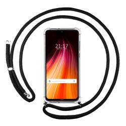 Funda Colgante Transparente para Xiaomi Redmi Note 8 con Cordon Negro