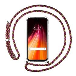 Funda Colgante Transparente para Xiaomi Redmi Note 8 con Cordon Rosa / Dorado