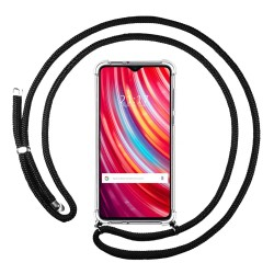 Funda Colgante Transparente para Xiaomi Redmi Note 8 Pro con Cordon Negro