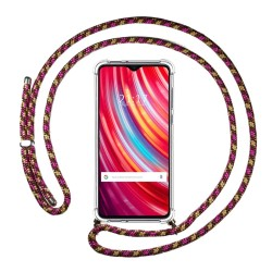 Funda Colgante Transparente para Xiaomi Redmi Note 8 Pro con Cordon Rosa / Dorado