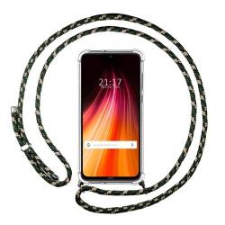 Funda Colgante Transparente para Xiaomi Redmi Note 8T con Cordon Verde / Dorado