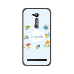 "Funda Gel Tpu para Asus Zenfone Go 5"" (Zb500Kl) Diseño Spring Birds Dibujos"
