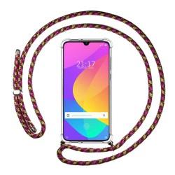 Funda Colgante Transparente para Xiaomi Mi A3 con Cordon Rosa / Dorado