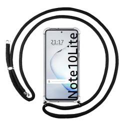 Funda Colgante Transparente para Samsung Galaxy Note 10 Lite con Cordon Negro