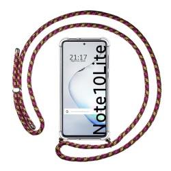 Funda Colgante Transparente para Samsung Galaxy Note 10 Lite con Cordon Rosa / Dorado