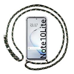 Funda Colgante Transparente para Samsung Galaxy Note 10 Lite con Cordon Verde / Dorado