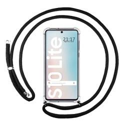 Funda Colgante Transparente para Samsung Galaxy S10 Lite con Cordon Negro