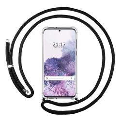 Funda Colgante Transparente para Samsung Galaxy S20 con Cordon Negro