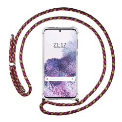 Funda Colgante Transparente para Samsung Galaxy S20 con Cordon Rosa / Dorado