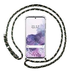 Funda Colgante Transparente para Samsung Galaxy S20 con Cordon Verde / Dorado