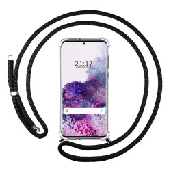 Funda Colgante Transparente para Samsung Galaxy S20+ Plus con Cordon Negro