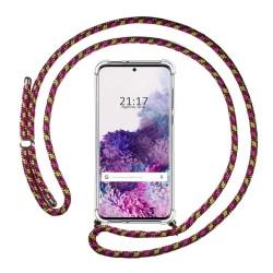 Funda Colgante Transparente para Samsung Galaxy S20+ Plus con Cordon Rosa / Dorado