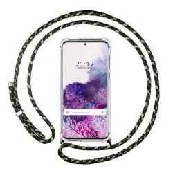 Funda Colgante Transparente para Samsung Galaxy S20+ Plus con Cordon Verde / Dorado