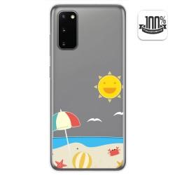 Funda Gel Transparente para Samsung Galaxy S20 diseño Playa Dibujos