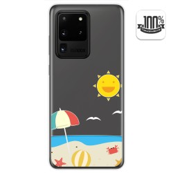 Funda Gel Transparente para Samsung Galaxy S20 Ultra diseño Playa Dibujos