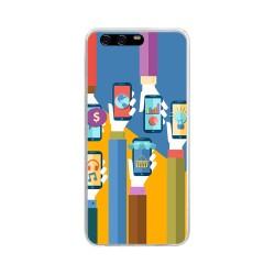 Funda Gel Tpu para Huawei P10 Plus Diseño Apps Dibujos