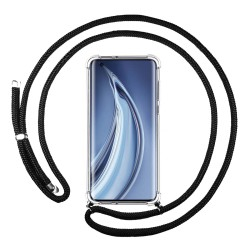 Funda Colgante Transparente para Xiaomi Mi 10 / Mi 10 Pro con Cordon Negro