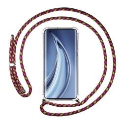 Funda Colgante Transparente para Xiaomi Mi 10 / Mi 10 Pro con Cordon Rosa / Dorado