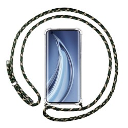 Funda Colgante Transparente para Xiaomi Mi 10 / Mi 10 Pro con Cordon Verde / Dorado