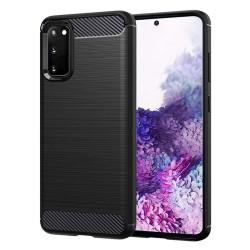 Funda Gel Tpu Tipo Carbon Negra para Samsung Galaxy S20