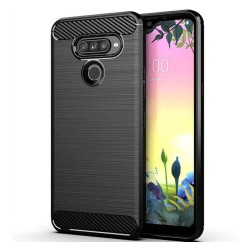 Funda Gel Tpu Tipo Carbon Negra para LG K50S