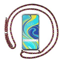 Funda Colgante Transparente para Xiaomi Redmi Note 9S con Cordon Rosa / Dorado