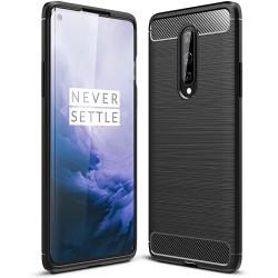 Funda Gel Tpu Tipo Carbon Negra para OnePlus 8