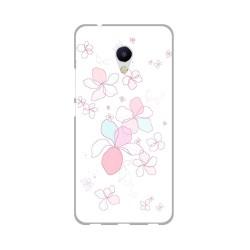 Funda Gel Tpu para Meizu M5S Diseño Flores Minimal Dibujos
