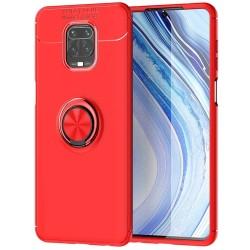 Funda Magnetica Soporte con Anillo Giratorio 360 para Xiaomi Redmi Note 9S / Note 9 Pro Roja