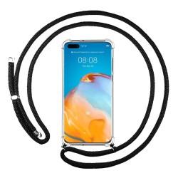 Funda Colgante Transparente para Huawei P40 Pro con Cordon Negro
