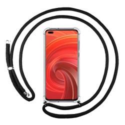 Funda Colgante Transparente para Realme X50 Pro 5G con Cordon Negro