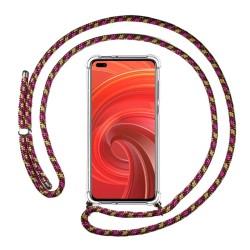 Funda Colgante Transparente para Realme X50 Pro 5G con Cordon Rosa / Dorado