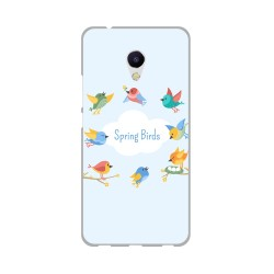 Funda Gel Tpu para Meizu M5S Diseño Spring Birds Dibujos