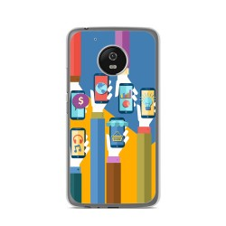 Funda Gel Tpu para Lenovo Moto G5 Diseño Apps Dibujos