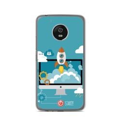 Funda Gel Tpu para Lenovo Moto G5 Diseño Cohete Dibujos