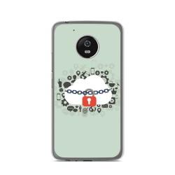 Funda Gel Tpu para Lenovo Moto G5 Diseño Nube Dibujos