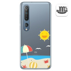 Funda Gel Transparente para Xiaomi Mi 10 / Mi 10 Pro diseño Playa Dibujos