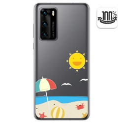 Funda Gel Transparente para Huawei P40 diseño Playa Dibujos