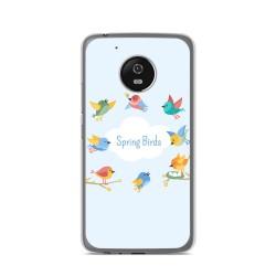Funda Gel Tpu para Lenovo Moto G5 Diseño Spring Birds Dibujos
