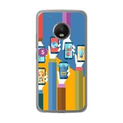 Funda Gel Tpu para Lenovo Moto G5 Plus Diseño Apps Dibujos