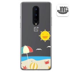 Funda Gel Transparente para OnePlus 8 diseño Playa Dibujos
