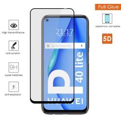 Protector Cristal Templado Completo 5D Full Glue Negro para Huawei P40 Lite Vidrio