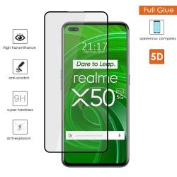 Protector Cristal Templado Completo 5D Full Glue Negro para Realme X50 Pro 5G Vidrio