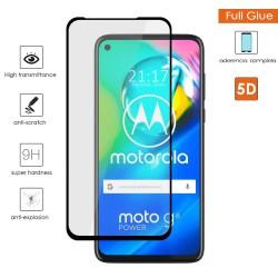Protector Cristal Templado Completo 5D Full Glue Negro para Motorola Moto G8 Power Vidrio