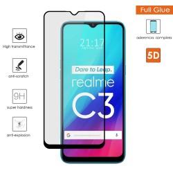 Protector Cristal Templado Completo 5D Full Glue Negro para Realme C3 Vidrio