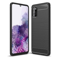 Funda Gel Tpu Tipo Carbon Negra para Samsung Galaxy A41