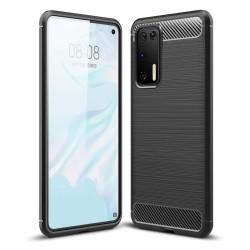 Funda Gel Tpu Tipo Carbon Negra para Huawei P40
