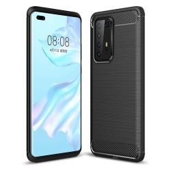 Funda Gel Tpu Tipo Carbon Negra para Huawei P40 Pro